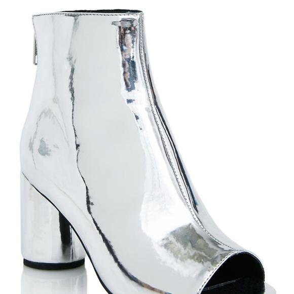 Silver Peep Toe Bootie